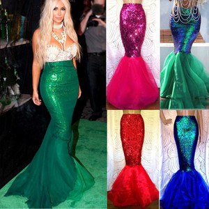 Sexy Women Sequin Mermaid Skirt Costume Fancy Party Cocktail Slim Long Maxi Skirts Mermaid Tail Party Evening Vestido 4 Colors