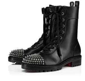 أزياء الشتاء ts فارس الأحذية النساء الأحمر أسفل الكاحل أحذية سيدة الجوارب الأسود جلد المسامير عالية الكعب أجزاء دراجة نارية القتال التمهيد