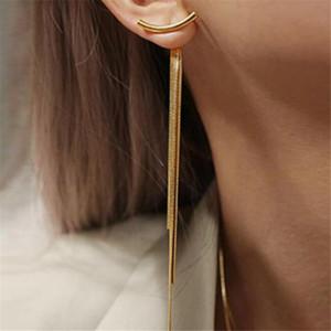 Vintage vergoldet Multi Stücke Schlangenkette Lange Quaste Tropfen Ohrringe Für Frauen Geometrie Aussage Ohrring Modeschmuck