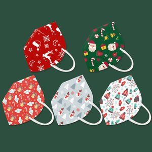 Yeni yılbaşı KN95 Tek Yüz Maskeleri Elastik Kulak Döngü 5 Kat Nefes Toz Koruma Noel Baba Beyaz Kırmızı Maske yazdır