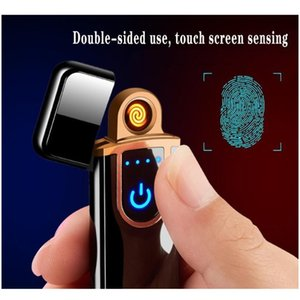 novelty electric touch sensor cool lighter fingerprint sensor usb rechargeable portable windproof lighters smoking accessories 12