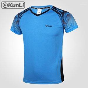 Kunli Curta Camisa de Tênis Homens Ao Ar Livre Esportes Badminton Roupas Running Roupas T-shirt Basquetebol Voleibol Camiseta1