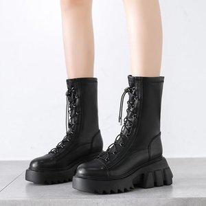 Rimocy 2021 зима новые PU кожаные женские сапоги коренастые каблуки платформы ботильоны для женщин крест ремень мотоцикл Botas Mujer