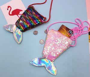 Tow-tone sequin mermaid bag for kids gift coin purse single-shoulder bag change purse cute fish tail shaped messenger bag DDC2877
