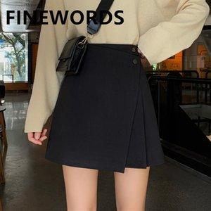 Finewords coreano preto vintage mini saia verão cintura alta uma linha saias womens harajuku casual outono saias plissadas saia1