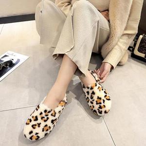 Pelzschuhe der Frauen niedriger runder Kopf flach Leopard plus Samt Baumwolle Schuhe Winter Homewear Größe 35-40