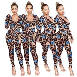 Imprimé Womens Tracksuits Mode Capuche Deux Pièces Set Casual Slim Deux Pieces Pantalons Sexy Léopard Butterfly