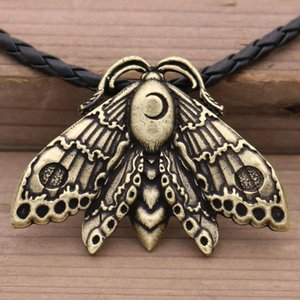 10Pcs Insect Jewelry Moth Moon With Crescent Pendant Death Gothic Women Wiccan Men Necklace Butterfly Gifts Wholesale Kbdbj