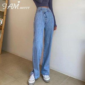 Design High Waist Split Women's Jeans Baggy Casual Distressed Mom Classic Biker Y2K Oversize Denim Pants Streetwear2020 Iamhotty