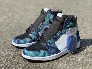 Nuevos 1 zapatos para hombre de alta OG WMNS verde teñido anudado del 1S Jumpman Aurora Blanco Negro para mujer de baloncesto zapatillas de deporte al aire libre Formadores