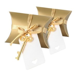 100 X Gold Silver Creative Pillow Candy Box With Retro Key-shaped Bottle Opener Tag Ribbon For Wedding Party Event Supplies LX2192