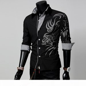 Men Male Fashion Long Sleeve European Style Tattoo Dragon Printed Shirt Silm Fit Shirt 4 Colors