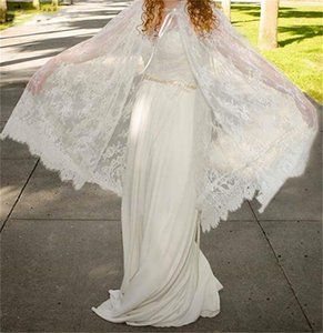 Summer Boho A-Line Wedding Dresses with Lace Wrap Chiffon Bohemian 2021 Spring Bridal Gowns Country Wedding Dress