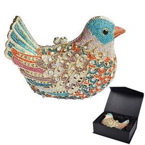 Popolare sera di lusso scintillante di cristallo femminile frizione colorato uccello pattern pattern ladies cena sacchetti frizioni borse SC035 y201224
