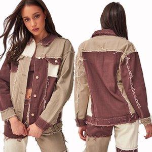 2020 Primavera Autunno Giacca Denim di alta qualità Donne Manica lunga Patchwork Hit Color Giacca Colore Donne Casual Coat Taglia S-2XL