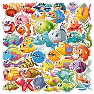 3 Sets = 120PCS Ocean World Shark Whale Creature Graffiti Sticker Water Cup Notebook Scooter Guitar Car Sticker
