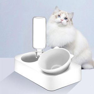 New Adjustable Food Dish Feeder Water For Cats And Small Dogs Supplies Pet Cats Oblique Double Bowl With Holder