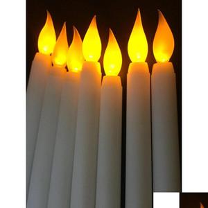 Home Leed 11-дюймовый светодиодный аккумуляторная батарея Управляемая мерцание Flameless IVORY конус свеча лампы палочки Свеча Свадебный столовый номер Chur Jlluui MX_HOME