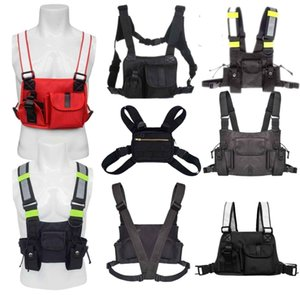 Tactical Vest Rig Bag Adjustable Radio Chest Harness Holster Walkie Talkie Pouch Sports Outdoor Reflective Strip Oxford Cloth Packe