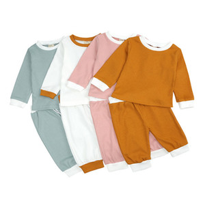 Autumn Baby Clothes Sets Solid Infant Girl Tops Pants 2pcs Set Long Sleeve Pit fabric Toddler Boy Outfits Children Baby Boutique Clothing 4