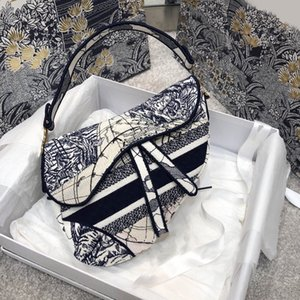 Ladies handbags graceful womens crossbody bag saddle oblique canvas embroidery over the shoulder bags Sac à main famousbags 7a high end