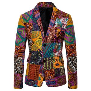 Africa Men suit Clothes Autumn Vintage Ethnic Printed One Button Casual Slim Jacket Men hombre Streetwear