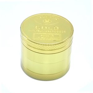 Newest pattern Metal grinder with 4 layers of gold coin pattern smoking accessory Manual smoke grinder 10 O2