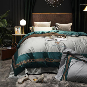 50 High quality 4pcs duvet cover sets tribute silk bed set king queen size comforter set bed sheet pillowcase1