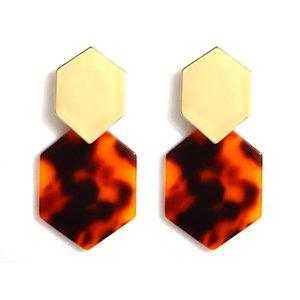 Women's Acrylic Earrings Girls Geometric Pendant Earrings Bohemian Circle Earrings Mottled Resin Fashion Jewelry