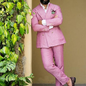 2020 Latest Coat Pant Designs Double Breasted Pink Linen Men Suit Slim Fit Tuxedo Summer Custom 2 Piece Jacket Terno mens suits