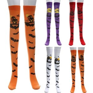 Halloween Druck Lange Tube Knie Socken Fancy Dress Party Funny Dress Up Requisiten Lustige Strümpfe # 1017 A1 # 1