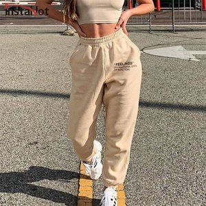 Instahot Casual Femmes Pantalon Pantalon Coton Lettre Print Summer Elstic Pantalon Haute Pantalon Cargo Pantalon 2020 Sporting Streetwear Pants C1111