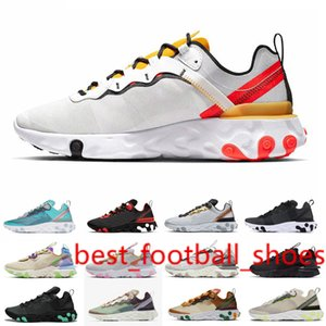 Discount Tour Yellow women men running shoes React vision Element 55 87 Triple Black Solar Red womens mens new arrival outdoor sports shoes