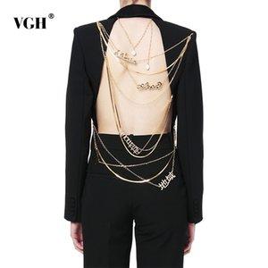 VGH Asymmetric Blazer для женщин Ударная воротник с длинным рукавом Backless Sequined Цепи Проектировщик пальто Женский Мода New Tide Y201026