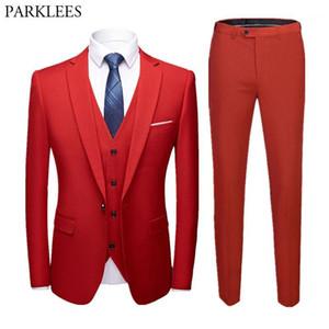 3 ADET Erkekler Kırmızı Weding Damat Elbise Takım Bir Düğme Slim Fit Çentikli Yaka Smokin Suits Erkek Parti Ceket Yelek Pantolon Kostüm Homme1