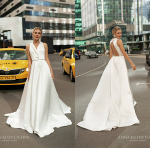 Anna Kuznetcova 2021 Satin Wedding Dresses With Beaded Sash V Neck Cheap Reception Gowns Sweep Train Bridal Gowns