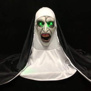 LED Horror The Nun Mask Cosplay Scary Valak Latex Masks with Headscarf Led Light Halloween Party Props Deluxe