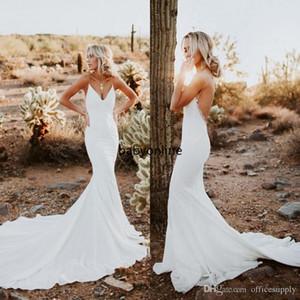 2020 Sexy Backless sereia vestidos de noiva simples projetado Correia de espaguetes apliques Sweep Trem Verão Boho Garden vestidos de noiva baratos