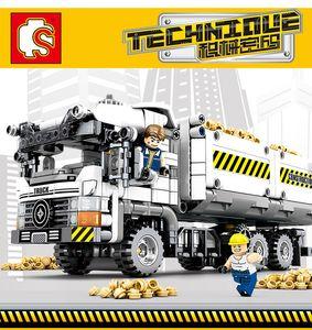 Sembo 799pcs Teknik Mühendislik Damperli Kamyon Yapı Taşları Araç Araba Tuğlalar Seti Eğitim DIY Oyuncak Çocuk Boys 1008 için