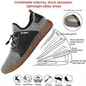 Männer Frauen Sicherheit Arbeiten Ultra Schuhe Industriebau Anti-Puncture Sommer-Breathable Stahl Zehen Schuhe 201019