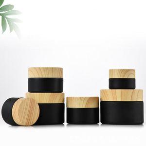 Schwarz mattierte Glasgefßen Kosmetikdosen mit woodgrain Kunststoffdeckeln PP liner 5g 10g 15g 20g 50g 30 Lippenbalsam Creme Behälter SN3394