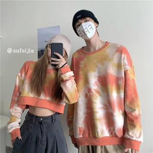 Kpop coréenne style ras du cou Sweat-shirt Tie Dye Imprimer Couple Sweats à capuche femme Vêtements à manches longues Crop Top Streetwear femmes 001S50