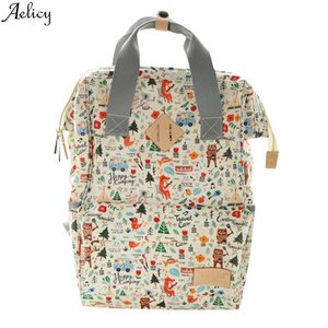 Aelicy Animal Pattern Waterproof Backpack Mummy Maternity Nappy Bag Oxford Cloth Mummy Backpack Large Nursing Bag Soft Backpack A1112