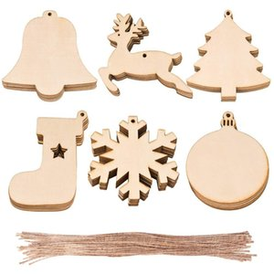 10pcs Lot Christmas Wooden Ornaments Christmas Tree Hanging Xmas Pendant Blank DIY Wood Craft Gift Decoration KKA2028