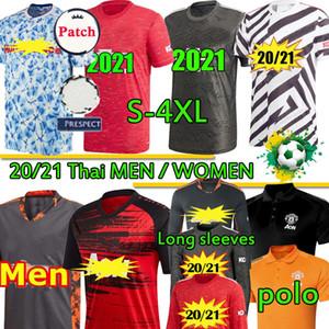 maniche lunghe razza umana Manchester 2020 21 Red Devils formazione unita UTD calcio POLO 4XL maglie B. FERNANDES RASHFORD donna uomo Uniformi