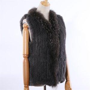 Suppevsttdio New Women's Genuine Coelho Pele de malha Raccoon Collar Colete Coletes Real Fur Mangas Gilets Atacado 201112