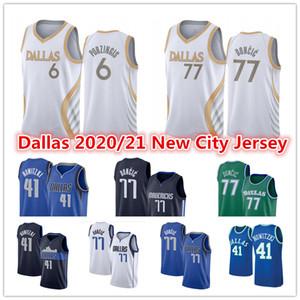 Men's Luka 77 Jersey Doncic Green Kristaps 6 Porzingis DallasDirk 41 Nowitzki Mavericks2021 City White Blue Basketball jerseys