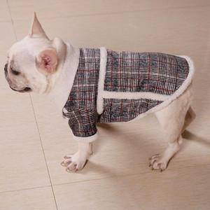Casacos de cão xadrez develudo francês lutador cachorro jaquetas de schnauzer inverno turismo ao ar livre caminhar o cão frio quente designer Outerwears DHD2739