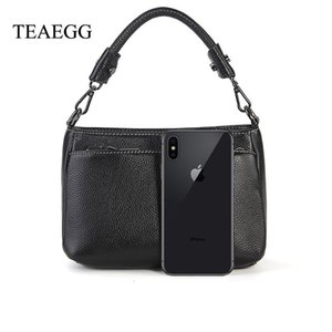 TEAEGG Women Real Leather handbag woc plain Caviar patter Female Genuine Leather cowhide multi-layer Messenger Crossbody Bag