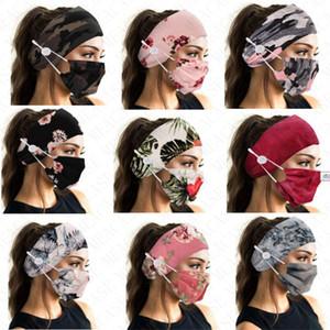 Floral Camuflagem Moda Máscara Face com Cor Correspondência de Cabelo Com Botão FaceMask Esportes Headbands Máscaras de duas partes para mulheres Lady D8503
